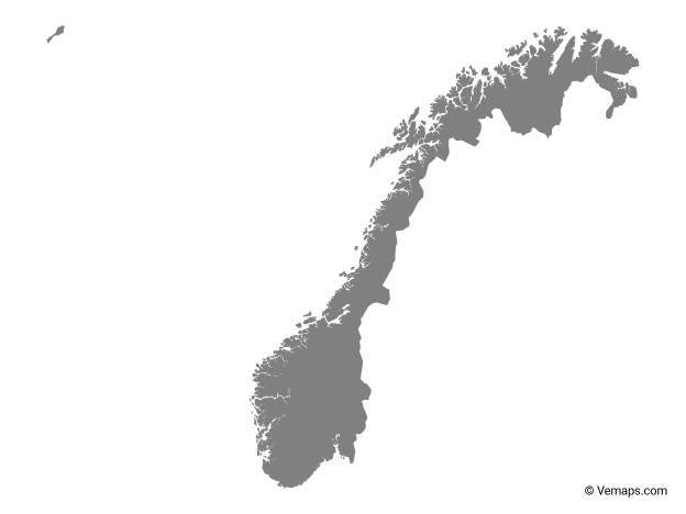 Grey Map of Norway.