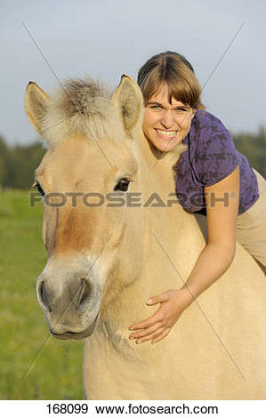 Stock Photograph of Girl with Norwegian Fjord Horse 168099.