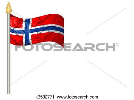 Clipart of Norwegian flag k3592771.