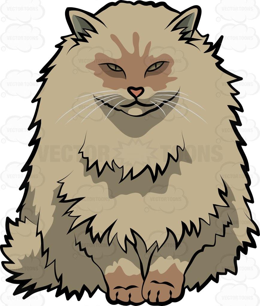 A Norwegian Forest Cat Cartoon Clipart.