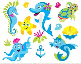 seahorse clipart set.