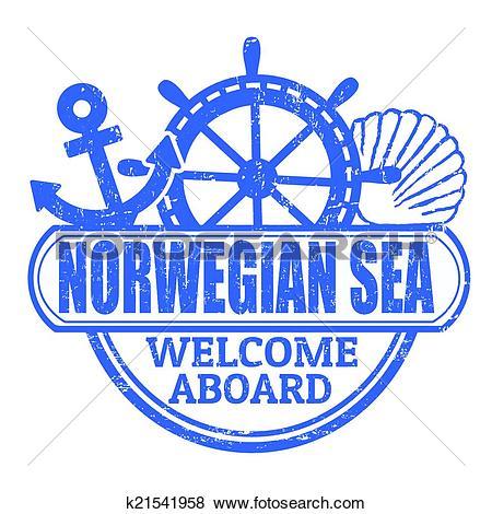 Clip Art of Norwegian Sea stamp k21541958.