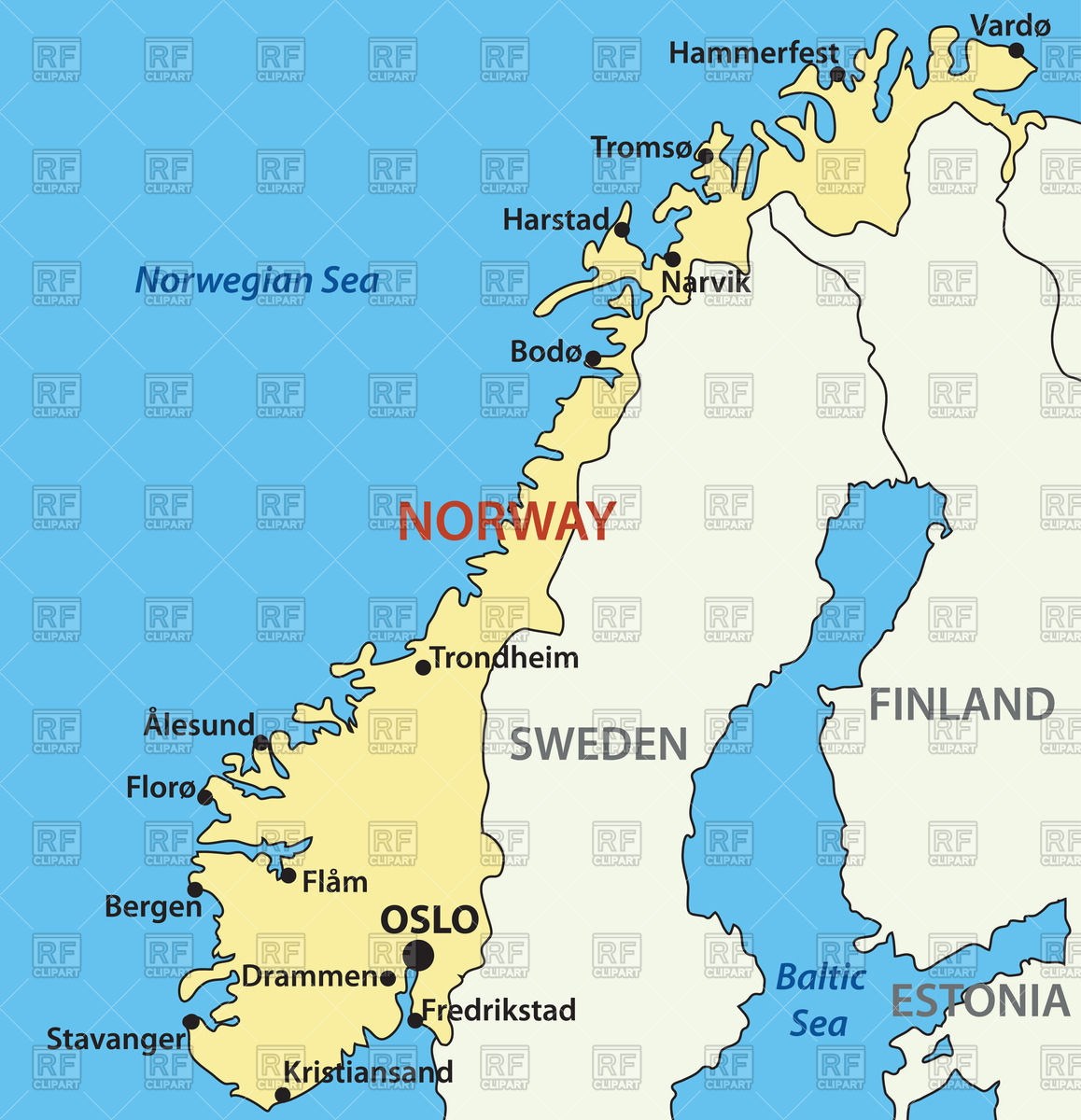 Map of Norway Vector Image #65347.