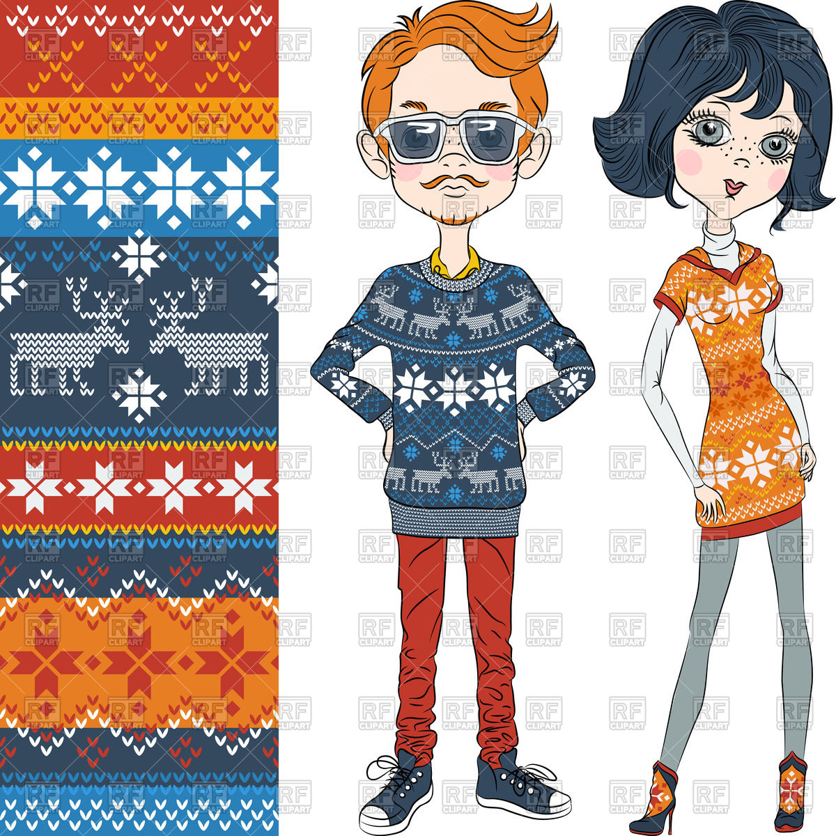 Fashion hipster boy and girl in knitted sweaters with Norwegian.