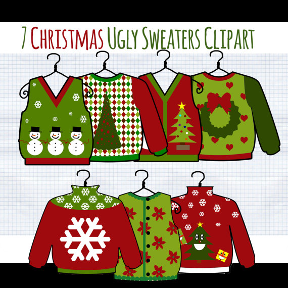 Christmas Clip Art Ugly Christmas Sweater clipart by DigiBonBons.