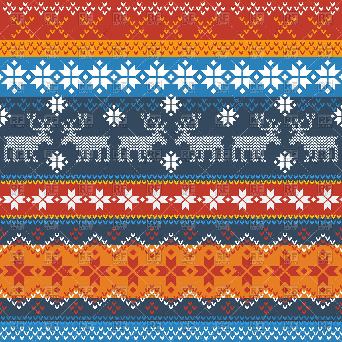 Traditional Norwegian pattern with reindeer and snowflakes Vector.