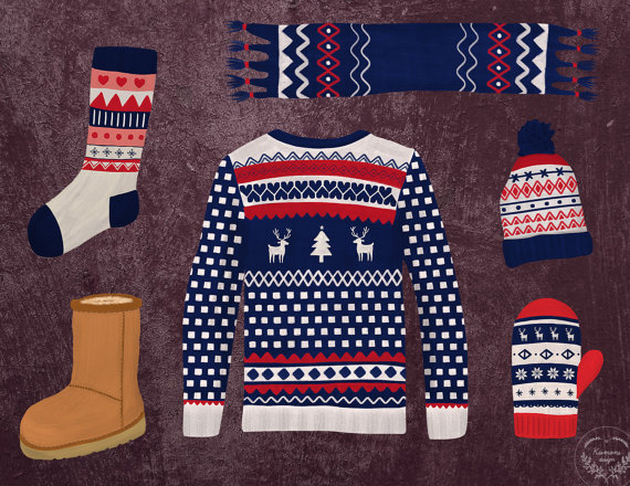 Christmas Clothes Clipart Fashion Clipart by KrimonsDesigns.