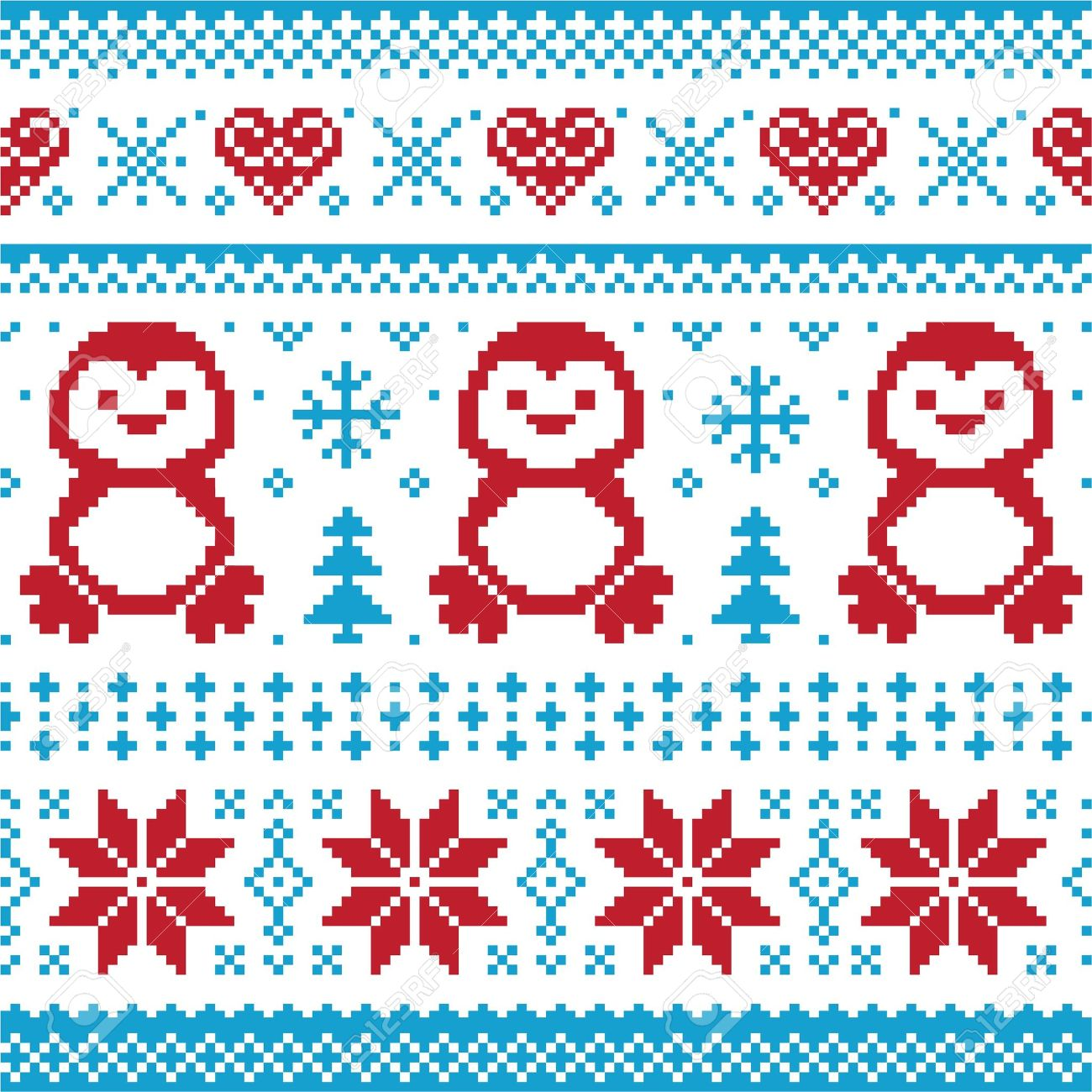 Christmas And Winter Knitted Pattern, Card.