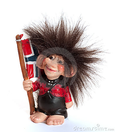 Troll With Norwegian Flag Stock Image.