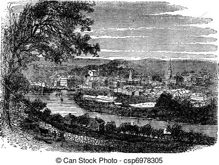 Clipart Vector of Norwich in Connecticut, USA, vintage engraved.