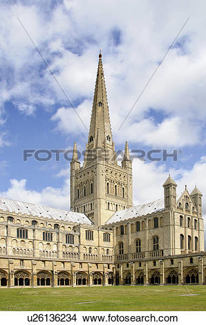 Stock Photo of England, Norfolk, Norwich. Norwich Cathedral.