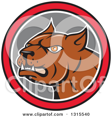 Clipart of a Cartoon Pitbull Guard Dog in a Red Black White and.