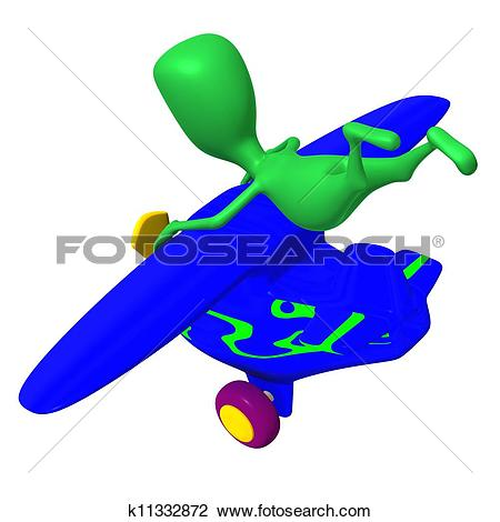 Clip Art of View puppy holding tightly after nosedive airplane.