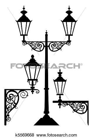 Clip Art of Set of antique street light lamps k5569668.