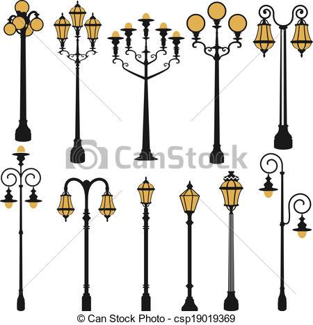 Clip Art Vector of street lamp set.