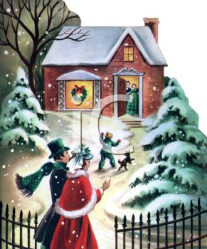 Nostalgic Christmas Scene of People Going to Friends House for.