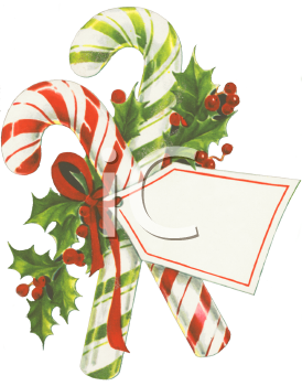 Royalty Free Clip Art Image: Nostalgic Candy Canes with a.