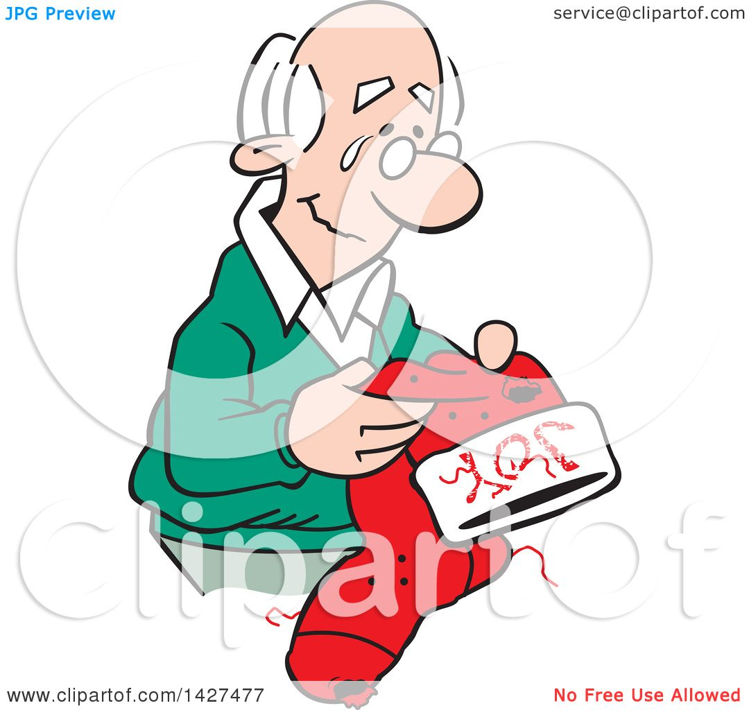 Clipart of a Cartoon Nostalgic Old Caucasian Man Holding a.