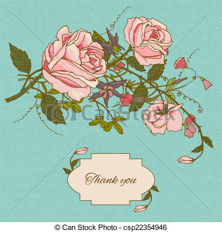 EPS Vector of Vintage flowers card color.