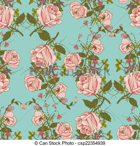 Vectors of Vintage floral seamless color pattern.