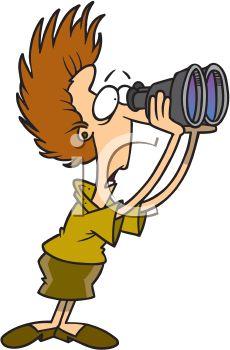 Royalty Free Clipart Image: Nosy neighbor looking through binoculars.