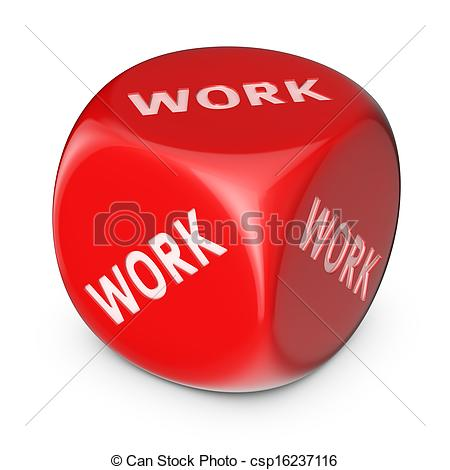 Clipart of Hard work concept. Big red dice with no options.