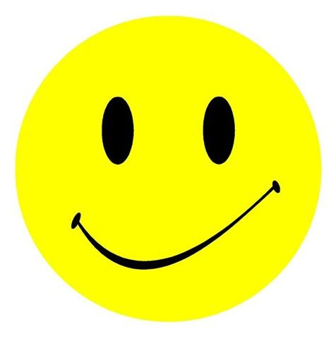 Yellow and black smiley face with slight smirk clip art..