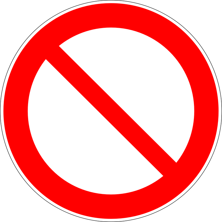 Prohibited Forbidden Not Allowed.