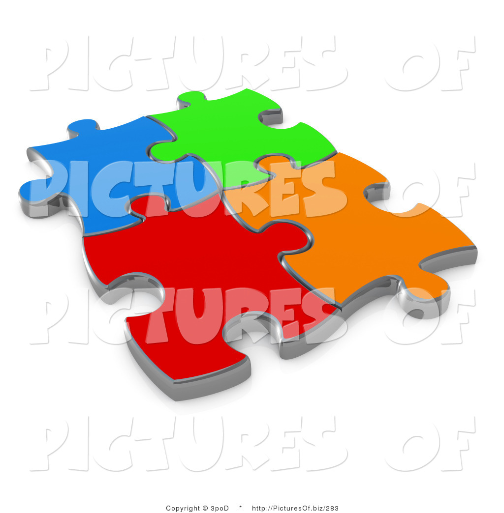 Clipart of 3d Different Colored Puzzle Pieces Connected by 3poD.