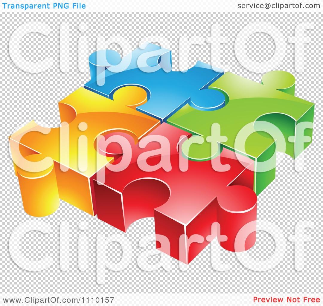 Clipart 3d Colorful Connected Puzzle Pieces.
