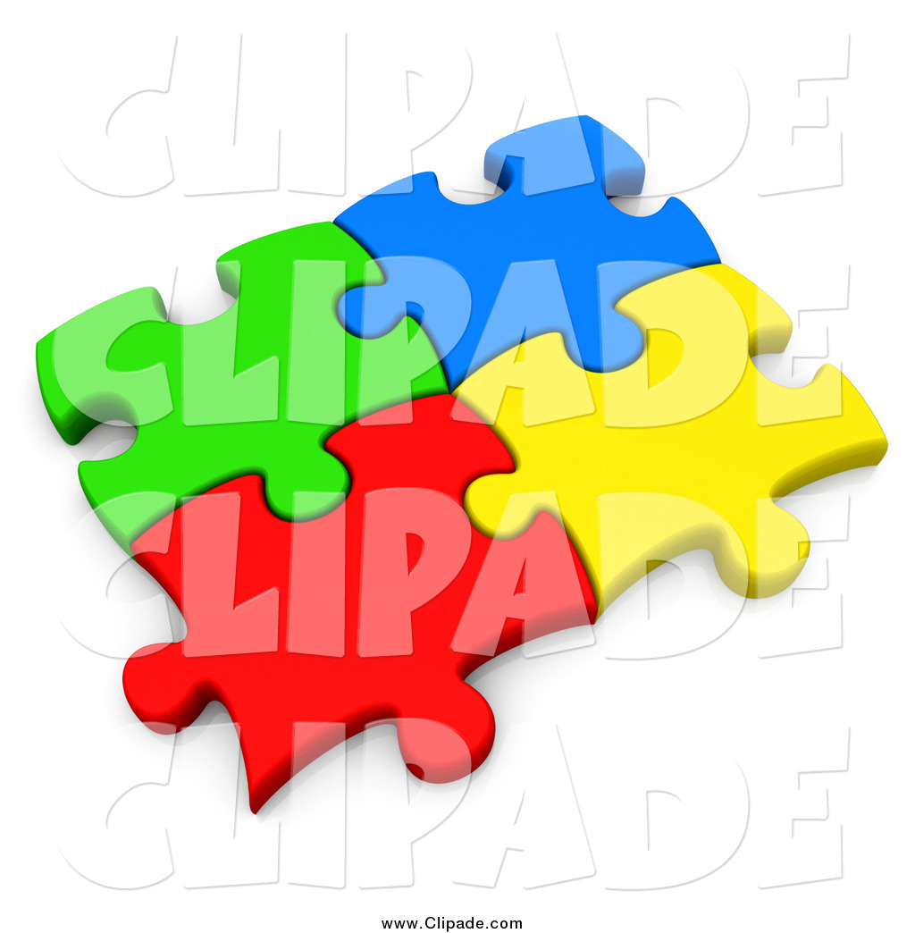 Clip Art of 3d Connected Colorful Puzzle Pieces by 3poD.