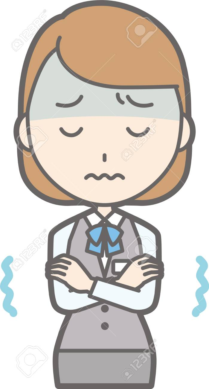 Illustration of a clerk feeling cold or not feeling well.