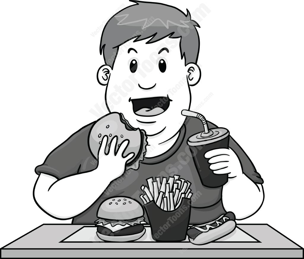 Man Eating Too Much Unhealthy Fast Food.