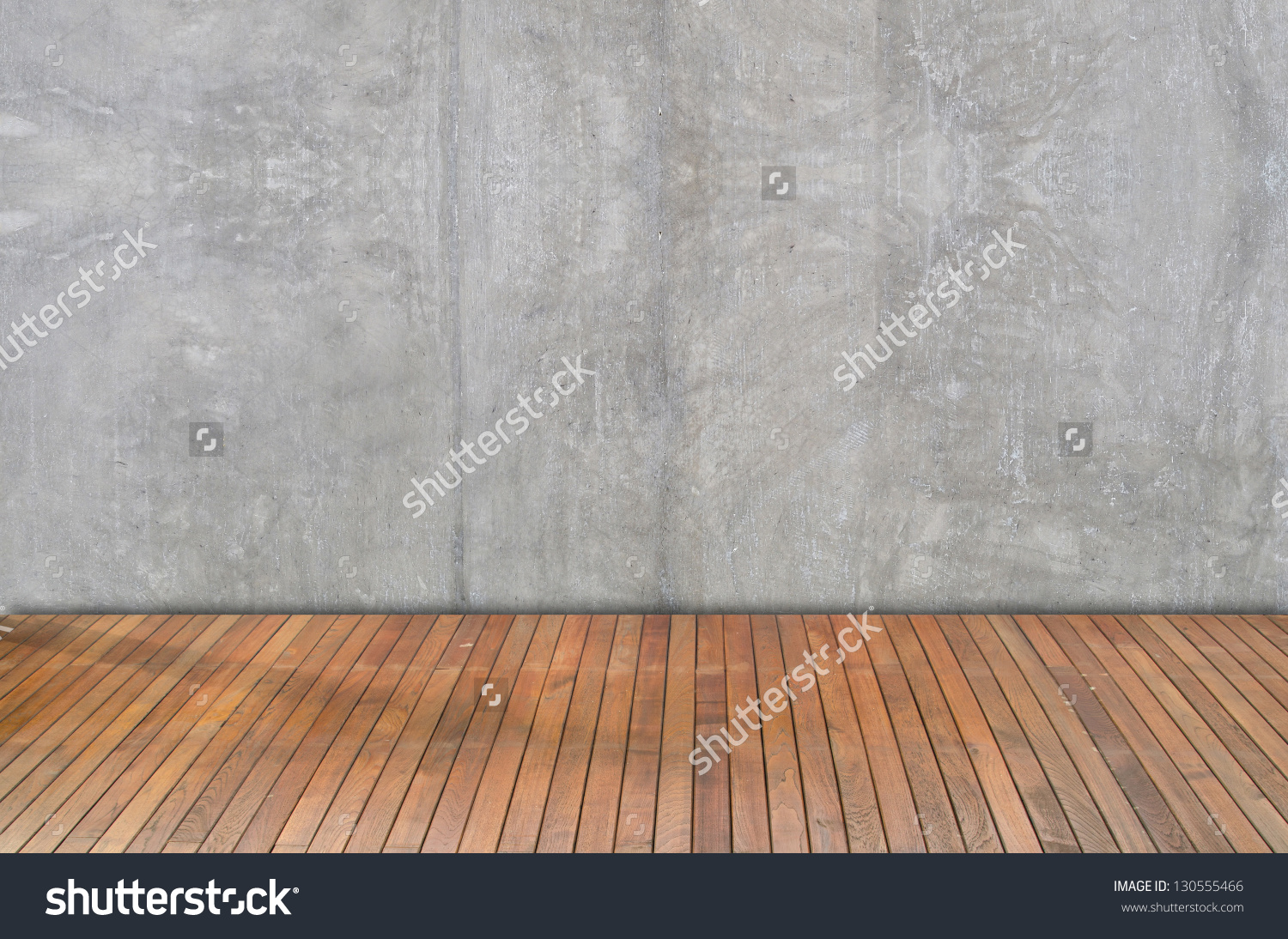 Wooden Floor And Plaster Walls Background Stock Photo 130555466.