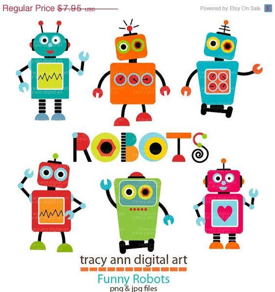 20 off Clip Art SALE Robot Clip Art Set by TracyAnnDigitalArt.