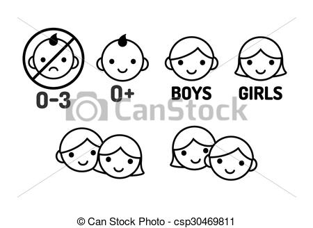 Vector Clip Art of Children icon set: age warning labels (not.