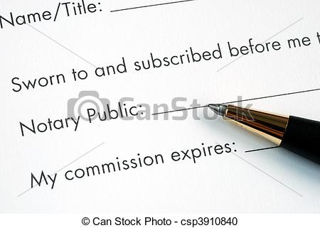 Stock Photography of The paper is notarized by the Notary Public.