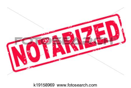 Clip Art of stamp notarized with red text on white k19158969.