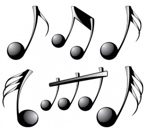 Shiny black musical notes Vector.