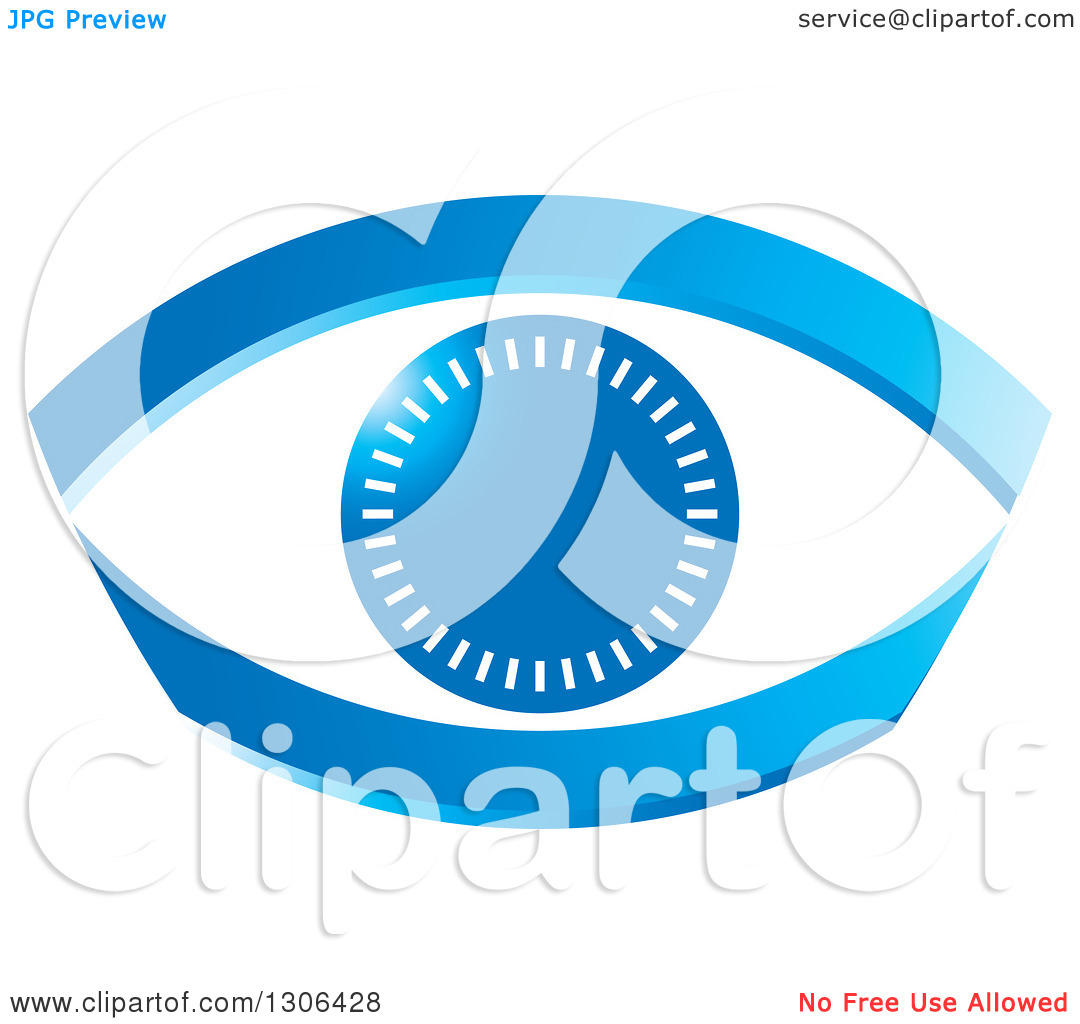 Clipart of a Blue Abstract Eye with Notches.