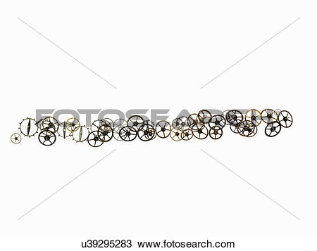 Stock Photo of Watch gears, small precision made cog wheels with.