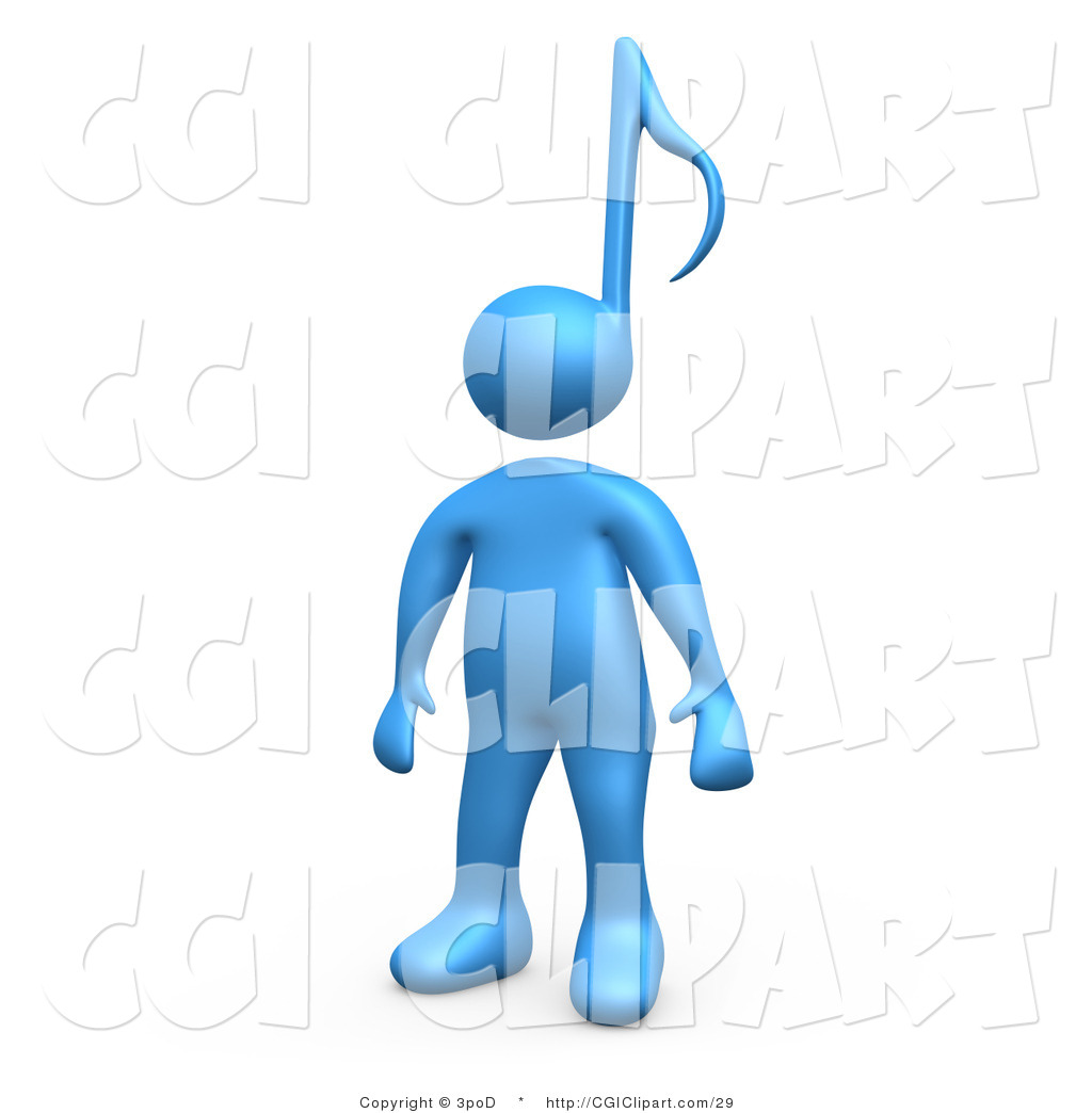 Clip Art of a 3d Blue Music Note Head Person by 3poD.