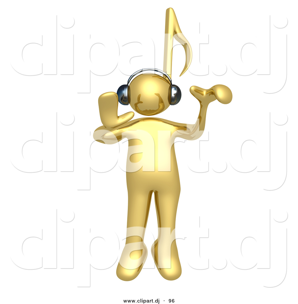 3d Cartoon Clipart of a Gold Man with Music Note Head, Listening.