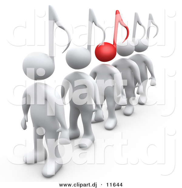 3d Clipart of White People with Music Note Heads, One Is Standing.