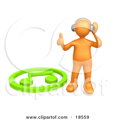 Clipart Graphic of a Blue Person With a Music Note Head by 3poD #19754.