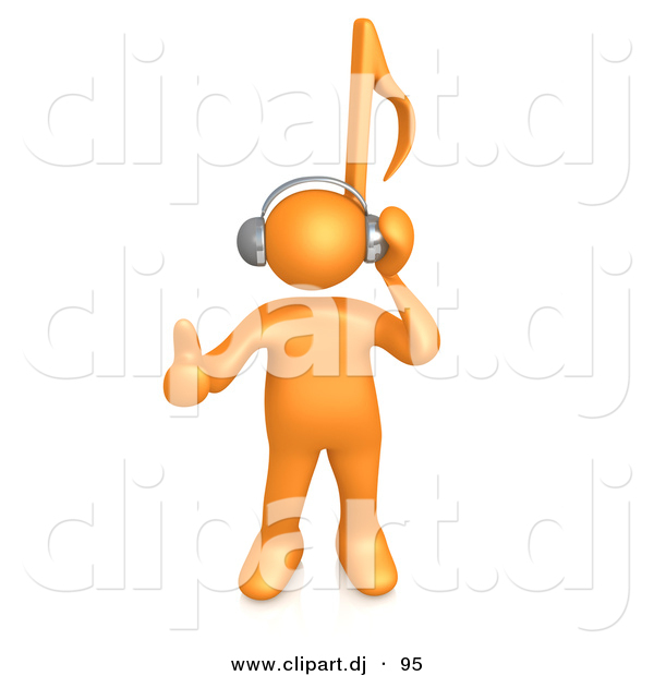 3d Cartoon Clipart of a Orange Guy with Music Note Head by 3poD.