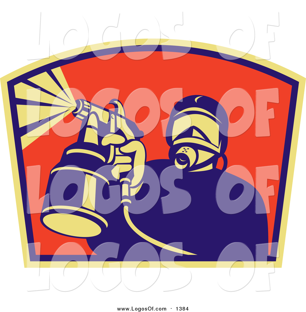 Clipart of a Spray Painter Worker Logo by patrimonio.