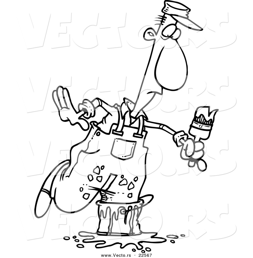 Vector of a Cartoon Painter Stepping in a Bucket.
