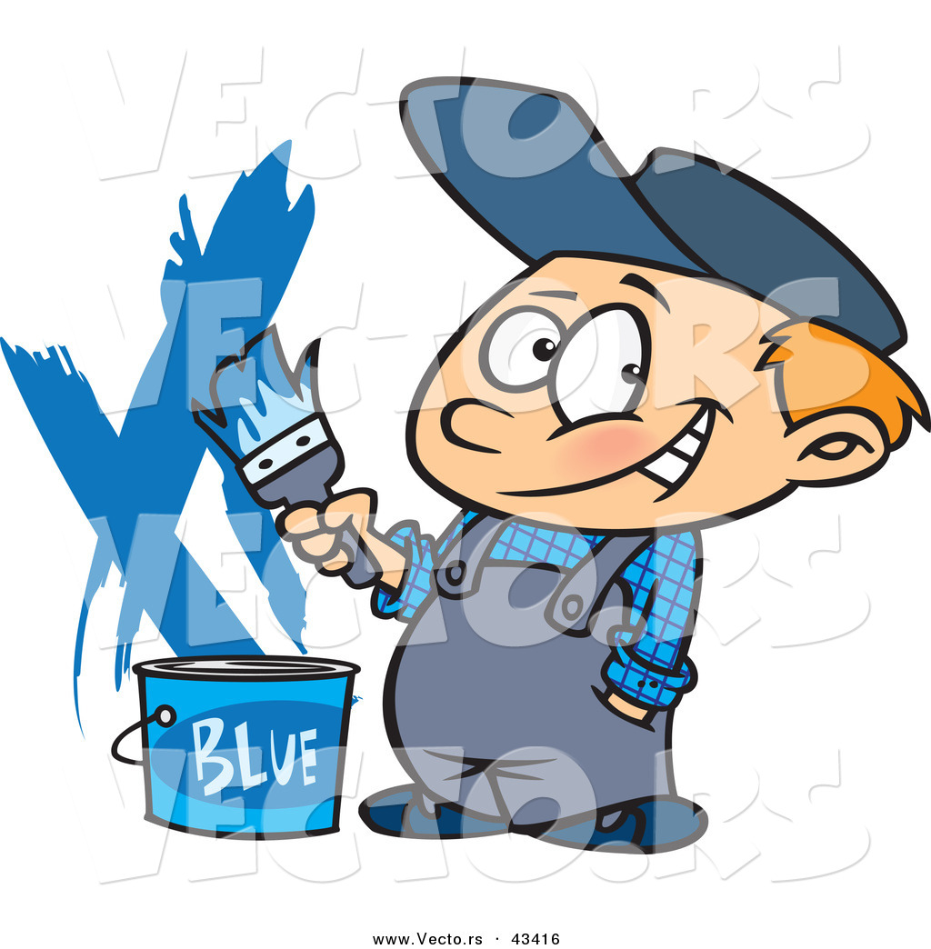 Vector of a Nervously Smiling Cartoon Painter Boy with a Bucket of.