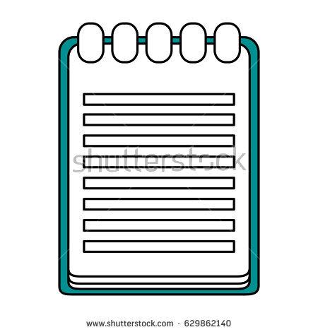Notebook Cartoon Vector Illustration Black White Stock Vector.